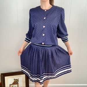 VINTAGE Leni Leni Navy Blue Skirt Set